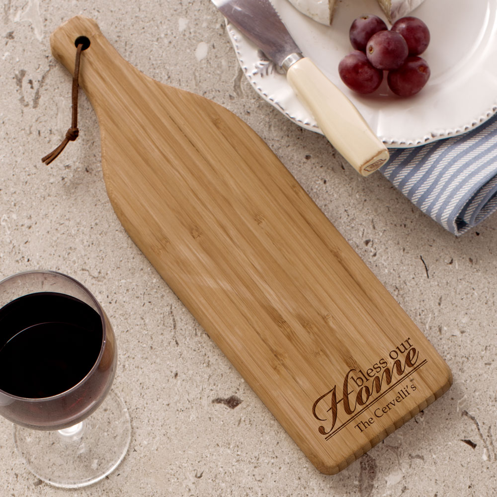Engraved Bless Our Home Wine Bottle Cheese Board L610528X
