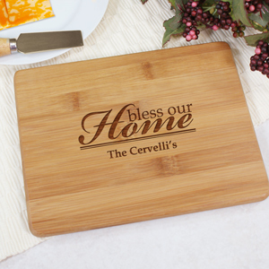 Engraved Bless Our Home Bamboo Cheese Board | Personalized Cutting Boards