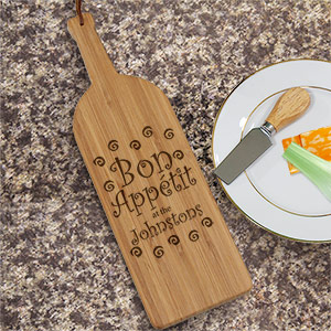 Engraved Wine Bottle Cheese Board