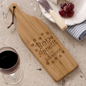 Engraved Bon Appetit Wine Bottle Shaped Board | Personalized Cutting Boards