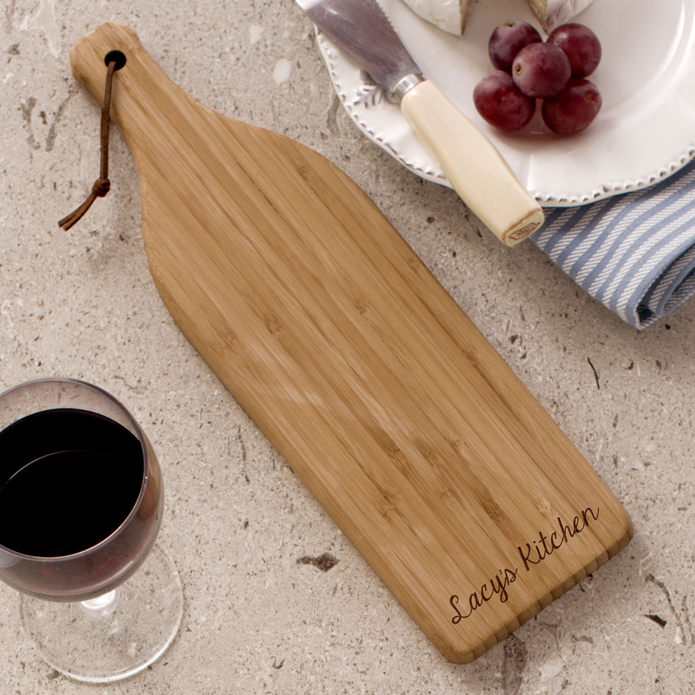 Engraved Bamboo Wine Bottle Cheese Cutting Board | Personalized Cutting Board