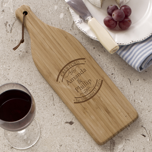 Engraved Established In Wine Bottle Cutting Board L621628X