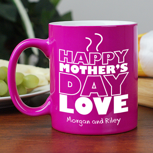 Engraved Mother's Day Two-Tone Mug | Customizable Coffee Mugs
