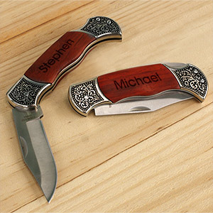 Engraved Rosewood DecoGrip Hunting Knife | Personalized Pocket Knife for Dad