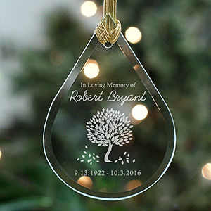 Personalized In Loving Memory Tear Drop Glass Ornament | Memorial Ornaments