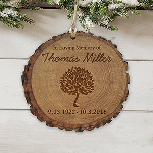 Personalized in Loving Memory Wood Round Ornament L7239166