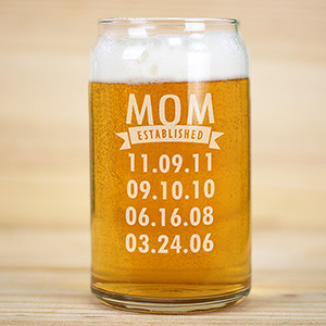 Personalized Mom Established Beer Can Glass