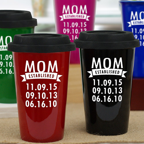Personalized Mom Established Travel Mug | Mothers Day Coffee Mug