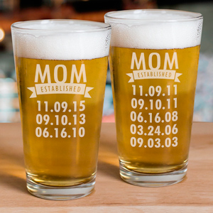 Engraved Mom Established Glass | Personalized Mother's Day Gifts
