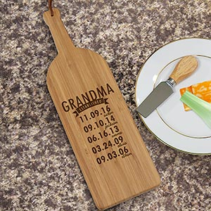 Engraved Mom Established Wine Bottle Cutting Board