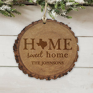 Personalized Home Sweet Home Rustic Wood Ornament | Christmas Ornaments Personalized