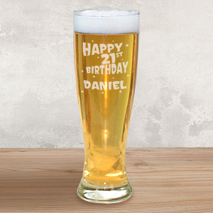 Engraved 21st Birthday Pilsner Glass L748741
