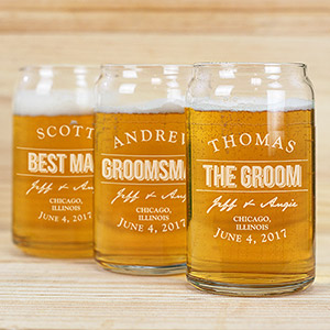 Engraved Groomsmen Glass Beer Can Glass