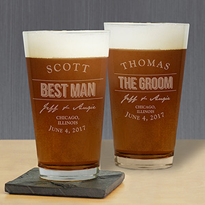 Engraved Groomsmen Beer Glass