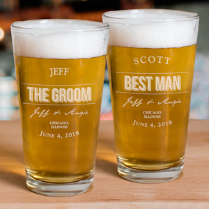 Engraved Groomsmen Beer Glass | Personalized Wedding Favors