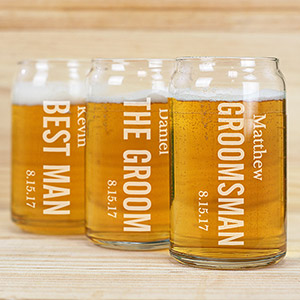 Engraved Wedding Party Beer Can Glass