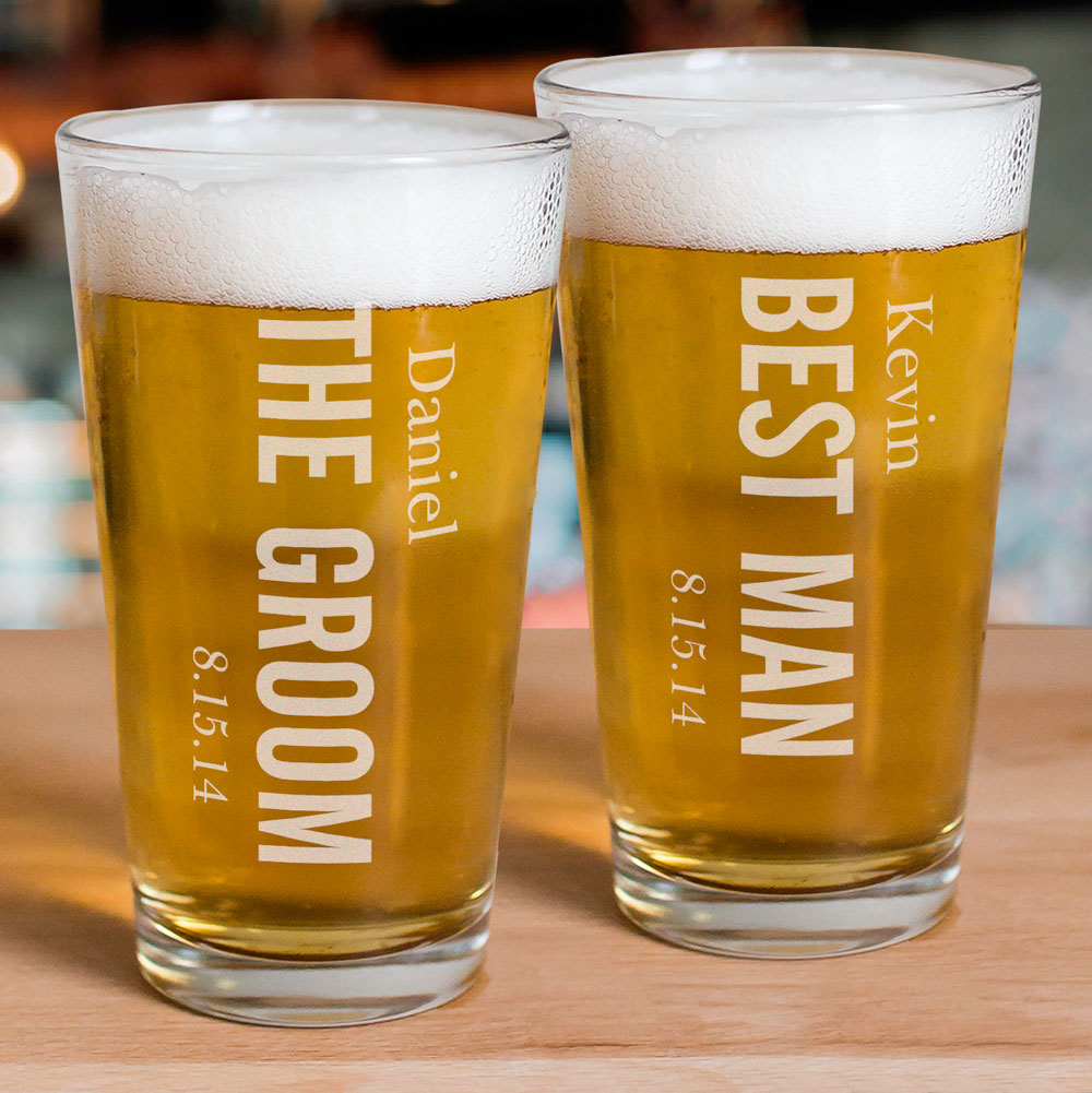 Engraved Wedding Party Beer Glass | Groomsmen Glasses
