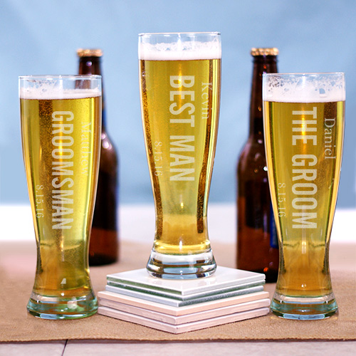Engraved Wedding Party Pilsner Glass | Groomsmen Beer Glasses