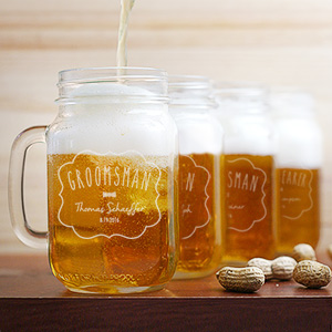 Engraved Groomsman Mason Jar