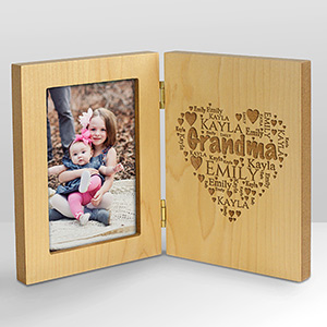 Engraved Family Word-Art Hinged Wood Frame | Personalized Gifts For Grandma