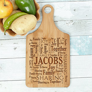Engraved Family Sharing Word-Art Paddle Cutting Board L8134188