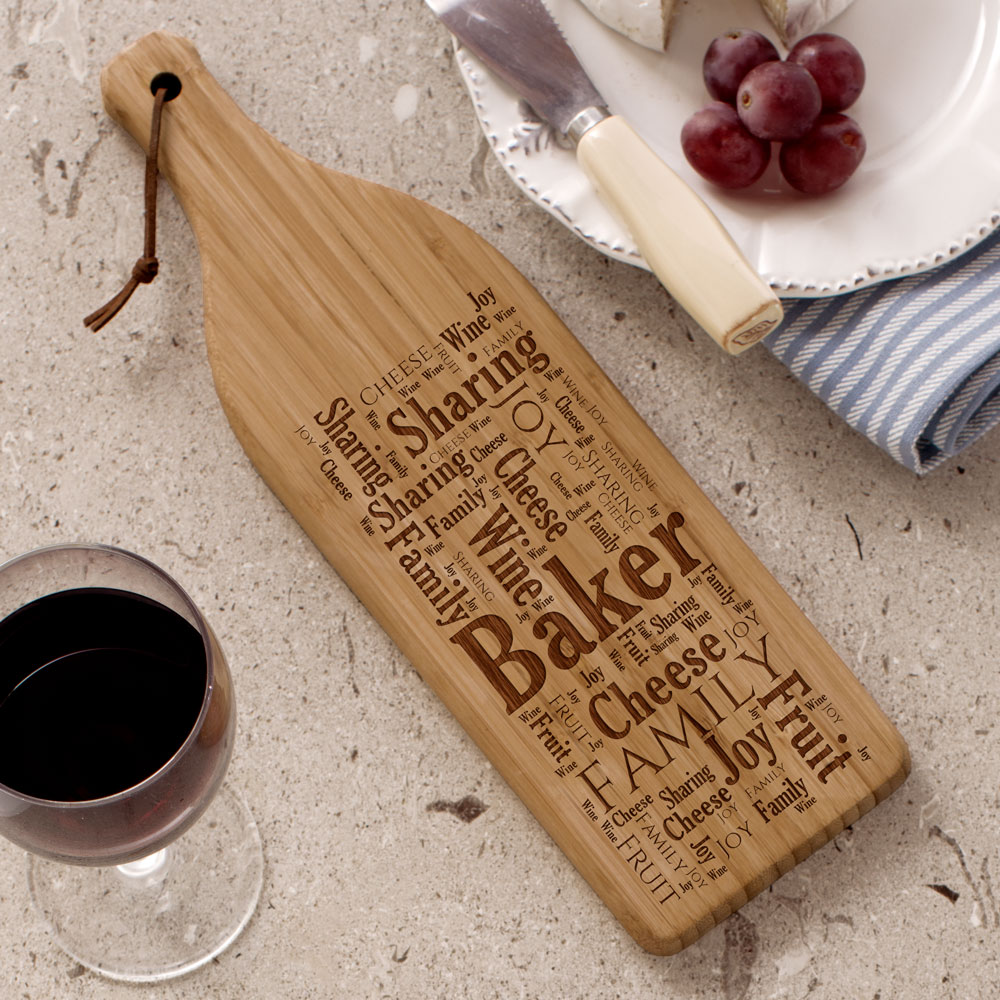Family Sharing Wine Bottle Cutting Board | Personalized Word Art