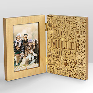 Engraved Family Word-Art Hinged Wood Frame