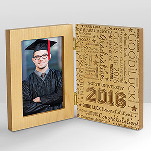 Graduation Word-Art Hinged Wood Frame