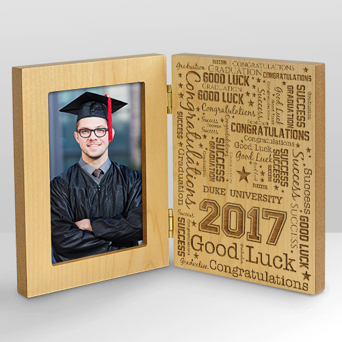 Graduation Word-Art Hinged Wood Frame | Personalized Graduation Picture Frames