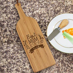 Engraved Best Mom Ever Wine Bottle Cutting Board