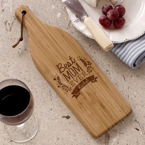 Engraved Best Mom Ever Wine Bottle Cutting Board | Mother's Day Gifts Personalized
