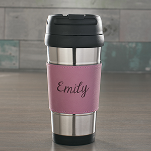 Engraved Any Name Pink Leather Travel Mug L9440173