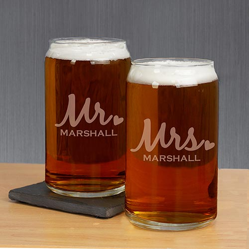 Engraved Mr. & Mrs. Beer Can Glass Set