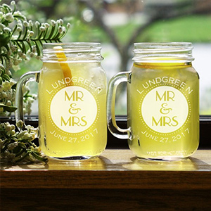 Mr. & Mrs. Engraved Mason Jar Set L944371