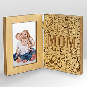 Engraved Mom Word-Art Hinged Wood Frame
