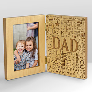 Engraved Dad Word-Art Hinged Wood Frame | Picture Frames For Daddy