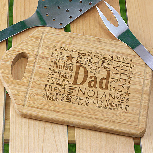 Engraved Dad Word-Art Cutting Board | BBQ Gifts for Dad