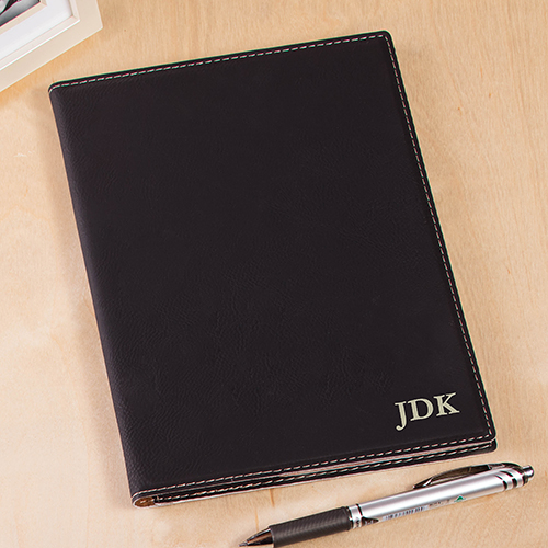 Engraved Three Initials Black Leatherette Portfolio L9851160