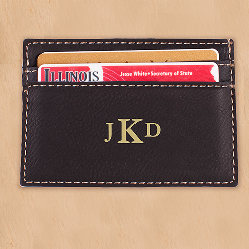 Engraved Monogram Black Leatherette Card Holder | Personalized Gifts for Him