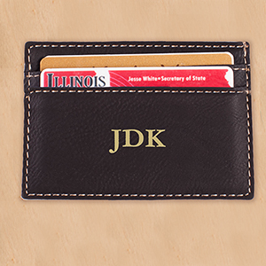 Engraved Three Initial Black Leatherette Money Clip | Personalized Gifts