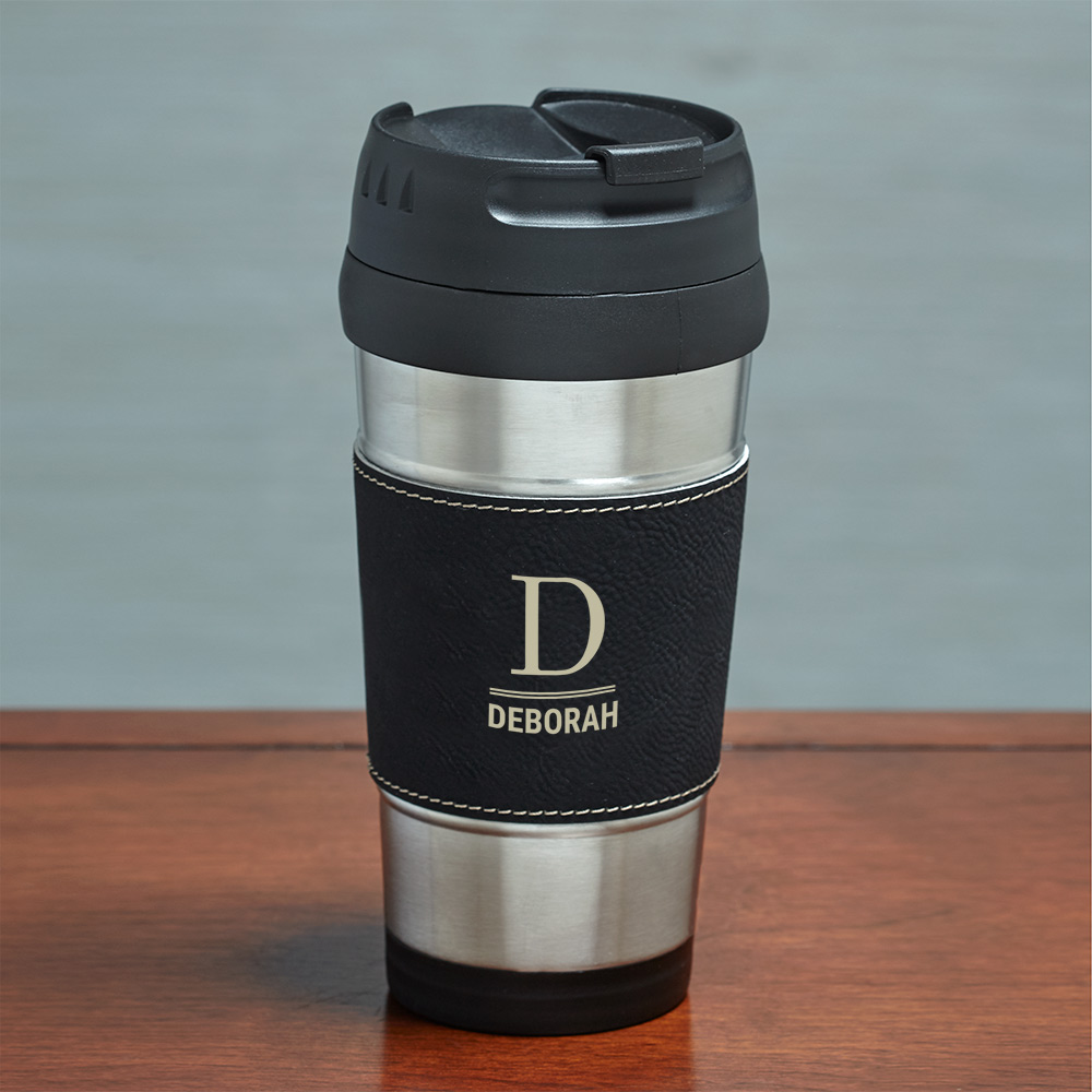 Engraved Initial and Name Black Leather Travel Mug | Customizable Coffee Mugs