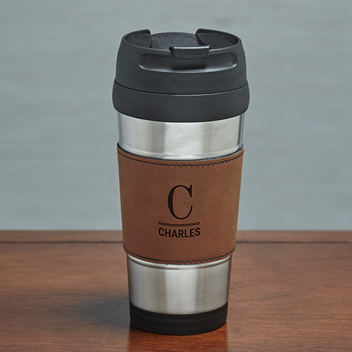 Engraved Initial and Name Rawhide Leather travel Mug L9903156