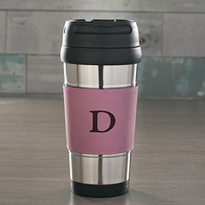 Engraved Single Initial Pink Leatherette Travel Mug L1049173