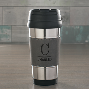 Engraved Initial and Name Grey Leather Travel Mug | Customizable Coffee Mugs