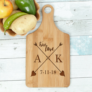 Engraved True Love Paddle Cutting Board | Personalized Cutting Boards For Couples
