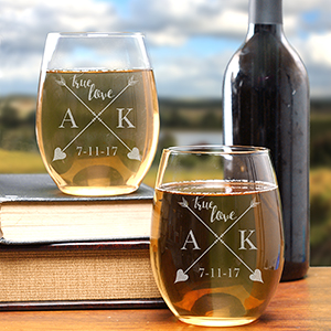 Engraved True Love Stemless Wine Glass Set L993995S2