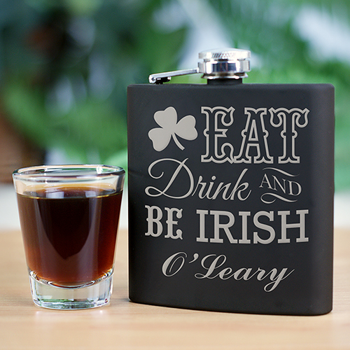 Engraved Eat Drink and Be Irish Flask L934972
