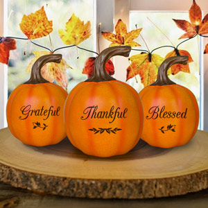 Engraved Grateful-Thankful-Blessed Small Pumpkin | Personalized Pumpkins