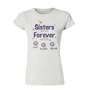 Personalized Sisters Forever Ladies Fitted T-Shirt 911962X