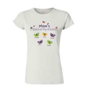 Personalized Butterfly Kisses Womens T-Shirt